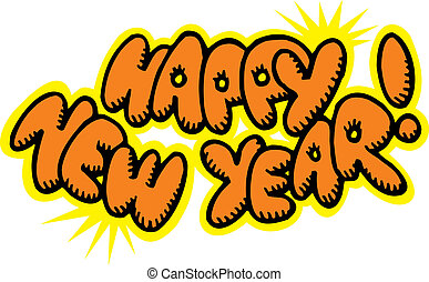 happy new year isolated on the white background