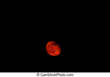 Red Moon Rising - Red moon visible because of total lunar...