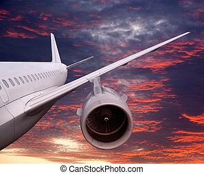 flygning, solnedgång, plan