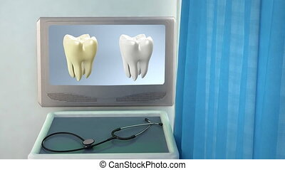 tooth compare medical closeup - teeth screen in medical room...