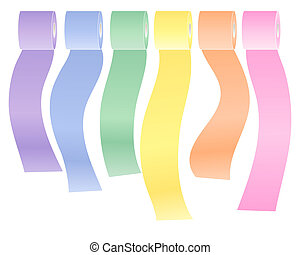 colorful toilet rolls - an illustration of a row of colorful...
