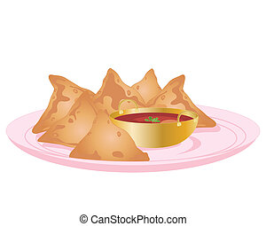 samosa - an illustration of some indian samosas and dipping...
