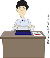 Vector image of woman-typist