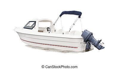 white speed boat isolated background for multipurpose