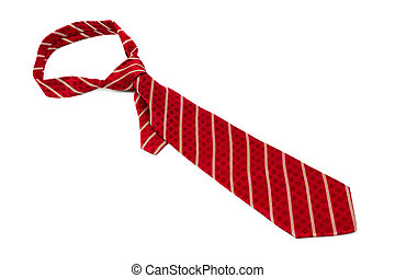 red striped necktie on a white background