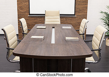 table for negotiations with the screen