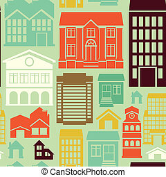 Vector seamless pattern with houses and building icons in...