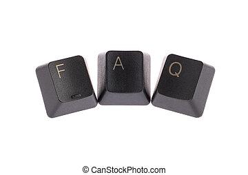 faq word - a shape of faq word,computer keyboard keys...