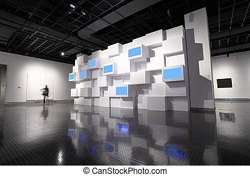 video wall in a exhibition room - video wall and a picture...