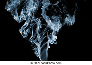 Blue Smoke - Blue colored smoke curves on black background