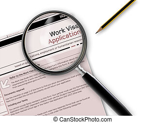 Work Visa Application - Close-up of work visa application...