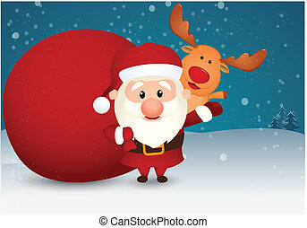 Santa Claus and bag with reindeer - Vector Illustration of...