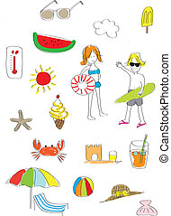 Summer Fun Icon - Summer fun elements in hand drawing style...