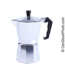 percolator coffee with the lid closed on a white background