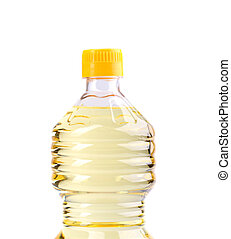 Top bottle of oil, isolated on white