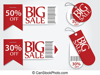 Sale card red promotion percentage - Vector Illustration of...