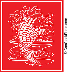 Chinese koi design. - Chinese koi design in red.