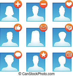 Vector social media icons with user avatars