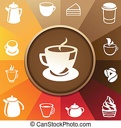 Vector concept with coffee and tea icons - cups, mugs, pots
