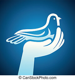 Vector dove and human hands - peace symbol - abstract...