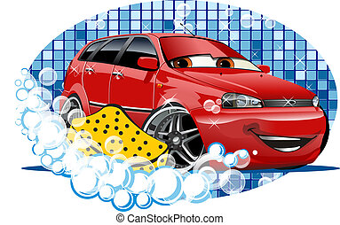 Car Washing sign with sponge - Car Washing Available EPS-10...