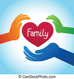 Vector family concept - heart shape and hands