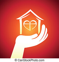 VEctor real estate concept - hand holding house