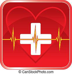 primeiro, ajuda, médico, Coração,...