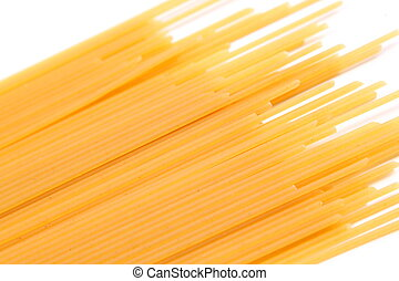 Spaghetti bias on the white background. Close-up.