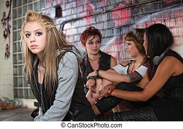 Depressed Teen with Friends - Teenager with low self-esteem...