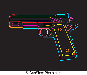 Handgun - neon sign - Modern Pistol - isolated vector icon...