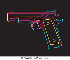 Handgun - neon sign - Modern Pistol - isolated vector icon...