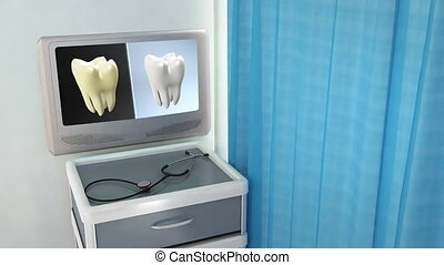 tooth contrast medical screen - teeth screen in medical room...