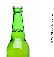 Top bottle of beer isolated on white