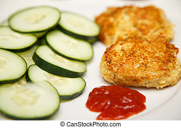 Crab Cakes with Sliced Cucumbers and Cocktail Sauce