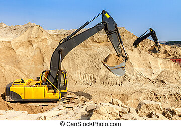 Excavator at Work - Yellow Excavator work at Construction...