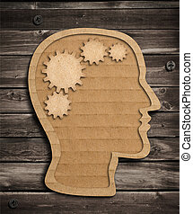 Human brain work model made from cardboard