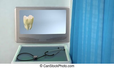 tooth step be white closeup - teeth screen in medical room...