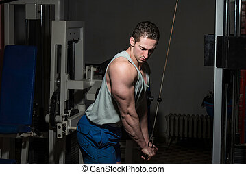 young bodybuilder doing heavy weight exercise for triceps...