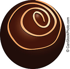 Round chocolate candy with a spiral ornament. Vector...