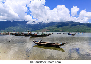 Landscape with boat at the Lap An, Lang co beach, Hue,...