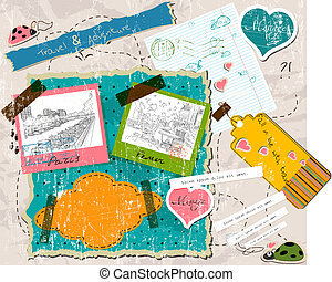 scrapbooking set with stamps and photo frames vector...