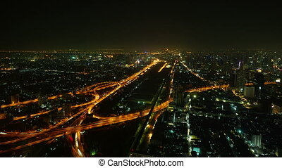 Aerial view night illuminated city