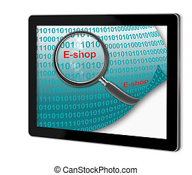 E-shop - Close up of magnifying glass on E- shop on screen...