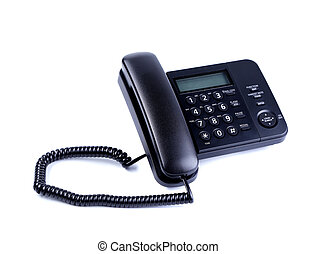 One landline phone on a white background