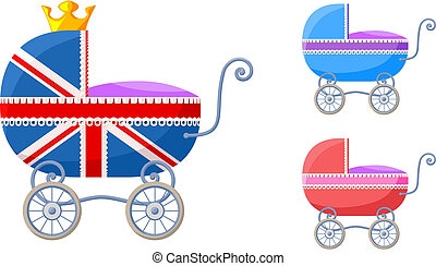 English baby carriages - Small vector set with...