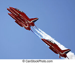 The Red Arrows flying in formation at Swansea air show. July...