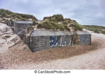 Second World War bunker on a beach Denmark - Second World...