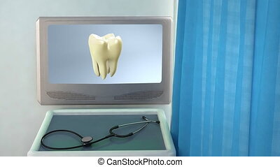 yellow tooth to white tooth closeup - teeth screen in...