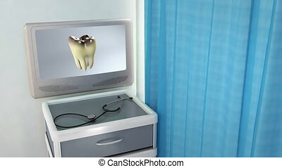 bad tooth medical screen - teeth screen in medical room...